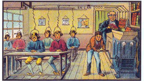 A escola do ano 2000 imaginada pelos ilustradores franceses Jean Marc CotÍ e Villemard em 1899.